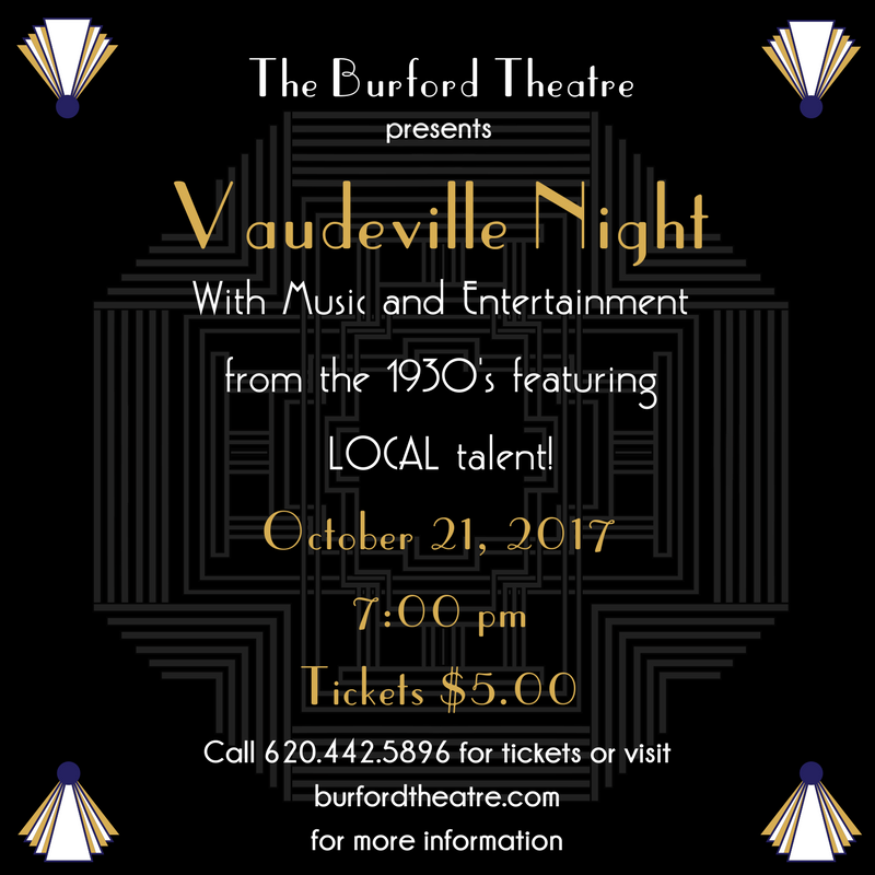 Join us for Vaudeville Night on October 21 at 7:00 pm